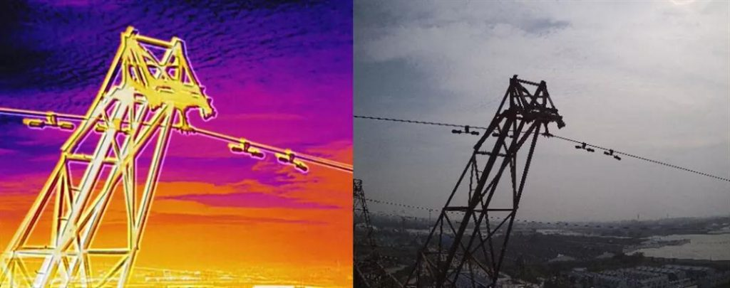 Drone wth thermal imaging camera to do powerline inspection